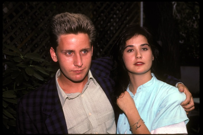"Demi Moore with Emilio Estevez in NYC to promote ""St. Elmo's Fire"" in 1985"